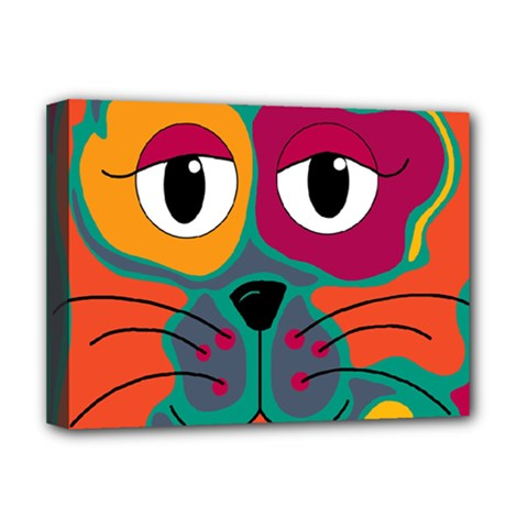Colorful cat 2  Deluxe Canvas 16  x 12