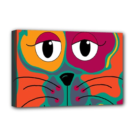 Colorful cat 2  Deluxe Canvas 18  x 12
