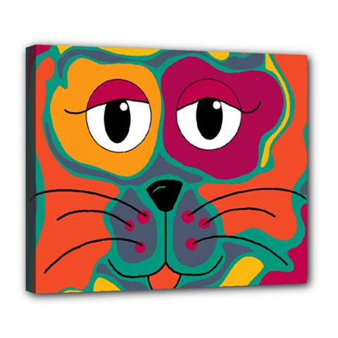 Colorful cat 2  Deluxe Canvas 24  x 20