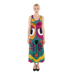 Colorful cat 2  Sleeveless Maxi Dress