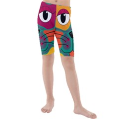 Colorful cat 2  Kids  Mid Length Swim Shorts