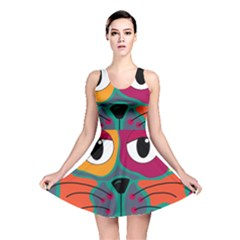 Colorful cat 2  Reversible Skater Dress