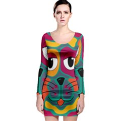 Colorful cat 2  Long Sleeve Bodycon Dress