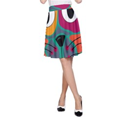 Colorful cat 2  A-Line Skirt