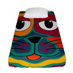 Colorful cat 2  Fitted Sheet (Single Size)