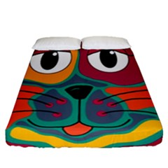 Colorful cat 2  Fitted Sheet (Queen Size)