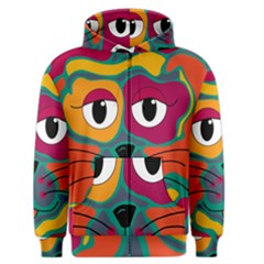 Colorful cat 2  Men s Zipper Hoodie
