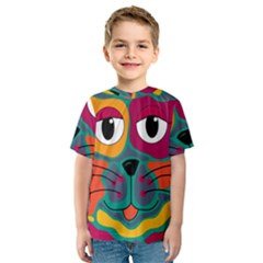 Colorful cat 2  Kids  Sport Mesh Tee