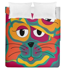 Colorful cat 2  Duvet Cover Double Side (Queen Size)