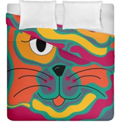 Colorful cat 2  Duvet Cover Double Side (King Size)
