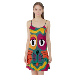 Colorful cat 2  Satin Night Slip