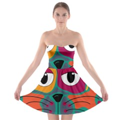 Colorful cat 2  Strapless Bra Top Dress