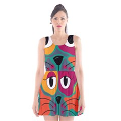 Colorful cat 2  Scoop Neck Skater Dress