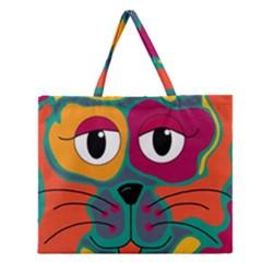 Colorful cat 2  Zipper Large Tote Bag