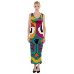Colorful cat 2  Fitted Maxi Dress