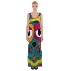 Colorful cat 2  Maxi Thigh Split Dress