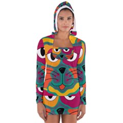 Colorful cat 2  Women s Long Sleeve Hooded T-shirt