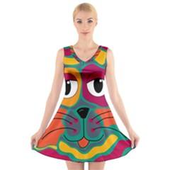 Colorful cat 2  V-Neck Sleeveless Skater Dress