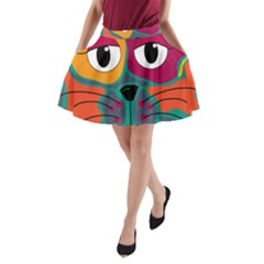 Colorful cat 2  A-Line Pocket Skirt