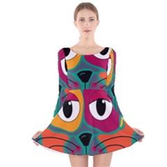 Colorful cat 2  Long Sleeve Velvet Skater Dress