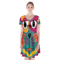 Colorful cat 2  Short Sleeve V-neck Flare Dress