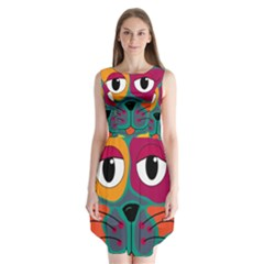 Colorful cat 2  Sleeveless Chiffon Dress