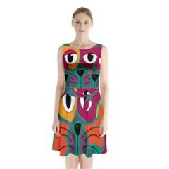 Colorful cat 2  Sleeveless Chiffon Waist Tie Dress