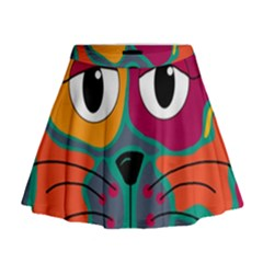 Colorful cat 2  Mini Flare Skirt