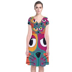 Colorful cat 2  Short Sleeve Front Wrap Dress