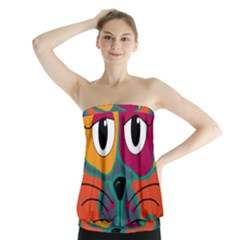 Colorful cat 2  Strapless Top