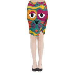 Colorful cat 2  Midi Wrap Pencil Skirt
