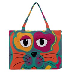Colorful cat 2  Medium Zipper Tote Bag