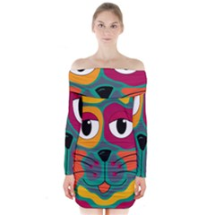 Colorful cat 2  Long Sleeve Off Shoulder Dress