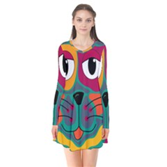Colorful cat 2  Flare Dress