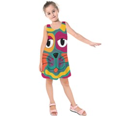 Colorful Cat 2  Kids  Sleeveless Dress