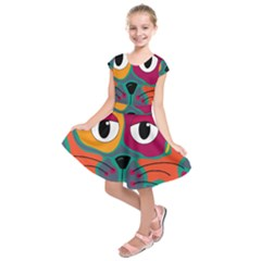 Colorful cat 2  Kids  Short Sleeve Dress