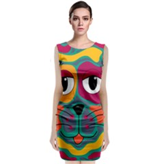 Colorful cat 2  Sleeveless Velvet Midi Dress