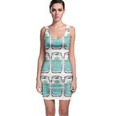 Beer Pattern Drawing Sleeveless Bodycon Dress