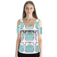 Beer Pattern Drawing Butterfly Sleeve Cutout Tee