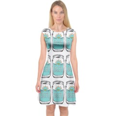 Beer Pattern Drawing Capsleeve Midi Dress