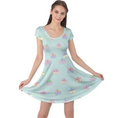 Butterfly Pastel Insect Green Cap Sleeve Dresses