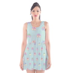 Butterfly Pastel Insect Green Scoop Neck Skater Dress