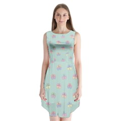 Butterfly Pastel Insect Green Sleeveless Chiffon Dress