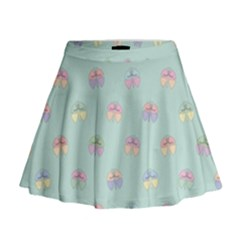 Butterfly Pastel Insect Green Mini Flare Skirt
