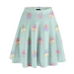Butterfly Pastel Insect Green High Waist Skirt