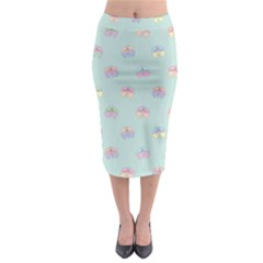 Butterfly Pastel Insect Green Midi Pencil Skirt