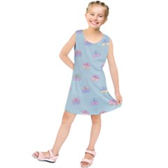 Butterfly Pastel Insect Green Kids  Tunic Dress
