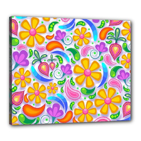 Floral Paisley Background Flower Canvas 24  x 20