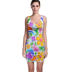 Floral Paisley Background Flower Sleeveless Bodycon Dress