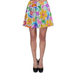 Floral Paisley Background Flower Skater Skirt